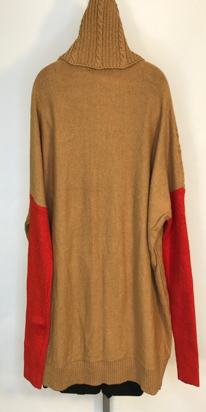 Camel Brown Turtleneck Sweater with Orange Sleeve