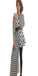 For Her NYC Black and White Asymmetrical Fashion Top