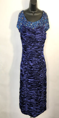 Navy Blue Ruched Beaded After 5 Dress