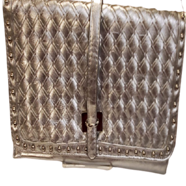 Silver Quilted Clutch