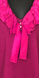 Fuchsia Ruffled Bow Sweater
