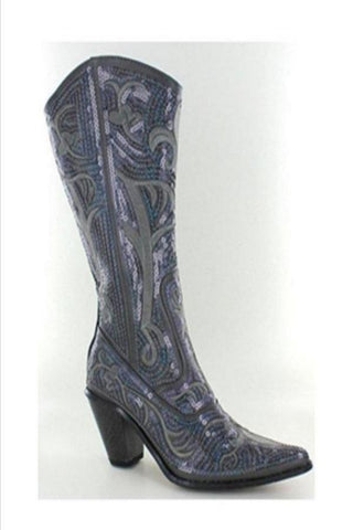 Grey Bling Cowboy Boots