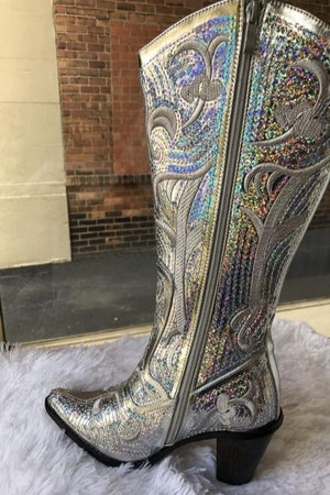 Silver Bling Cowboy Boots