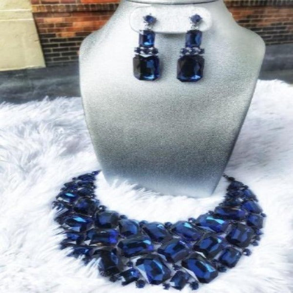 Royal Blue Statement Crystal Necklace Set
