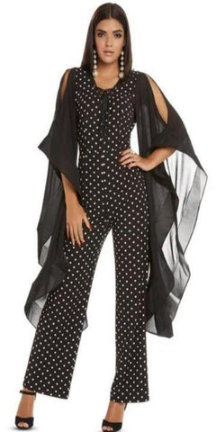 Love The Queen Jumpsuit Black and White Polka-Dot Jumpsuit