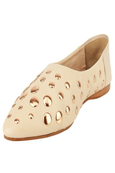 Blush Studded Pointed Toe Flat