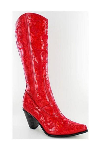 Red Bling Sequin Cowboy Boots