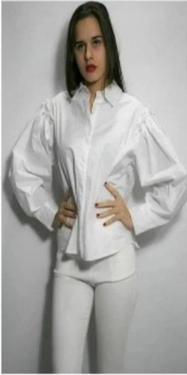 Long Sleeve Cotton White Blouse With Pearl Embellishment