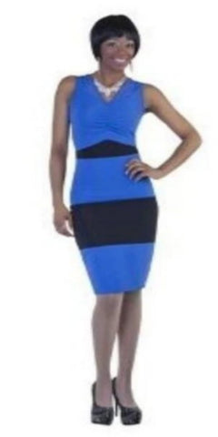 Royal and Black Two Tone Jewel Illusion Dress