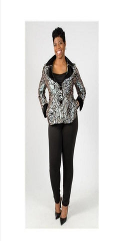 Silver and Black Flocked Floral Print Jacket