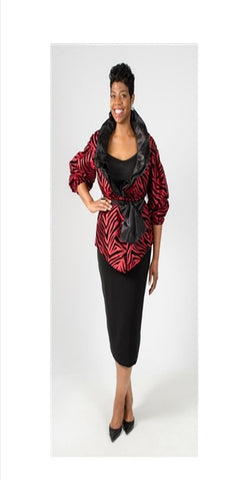 Red and Black Zebra Print Top with Ruffled Collar