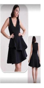 Black V-neck Aline Dress