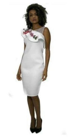 White Knee Length Scuba Dress with Flower embellishment