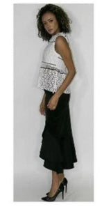 Sleeveless White Top With Intricate Cut Out Design
