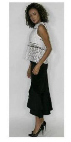 Nancy Yang Sleeveless White Top With Intricate Cut Out Design