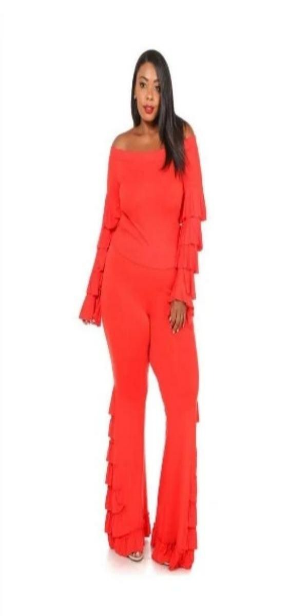 Red 2pc Pant and off the Shoulder Top