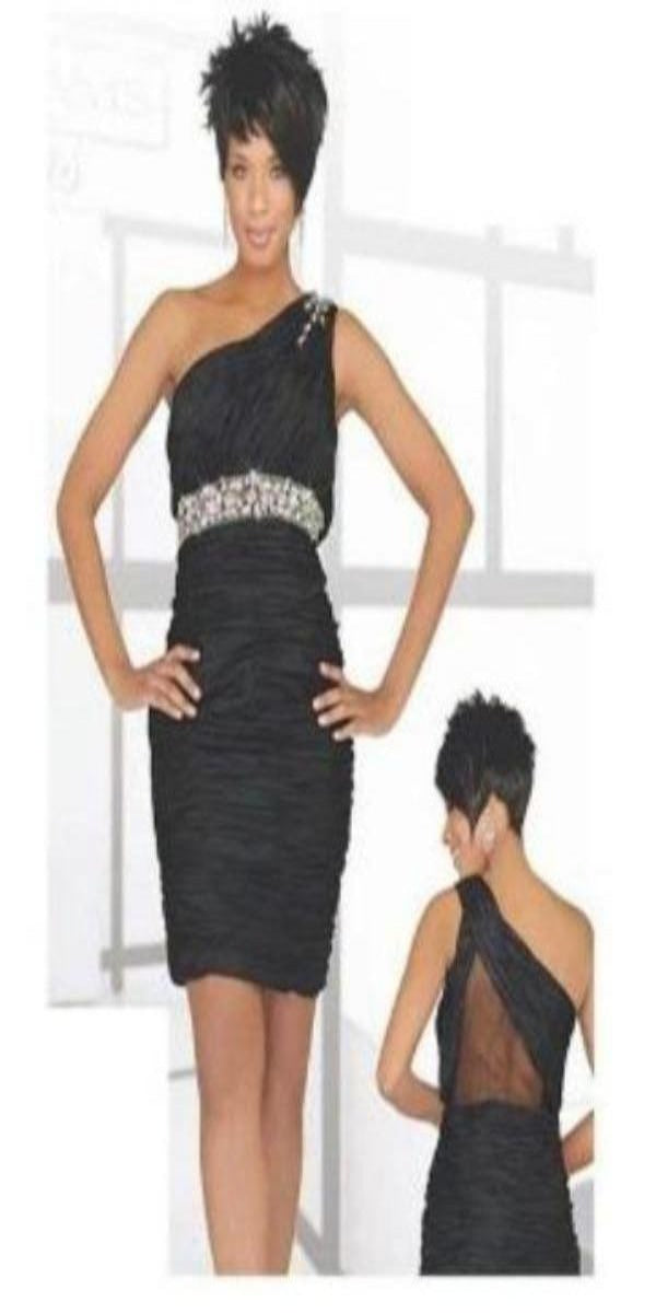 Black One Shoulder After 5 Dress with Sheer Back and Rhinestone Embellishments