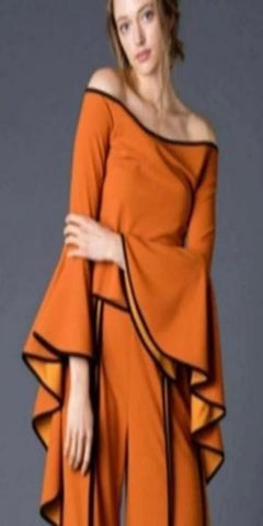 Burnt Orange Off the Shoulder Bell Sleeve Trimmed Top