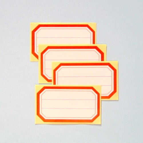 Octagon Red Border Labels Stickers