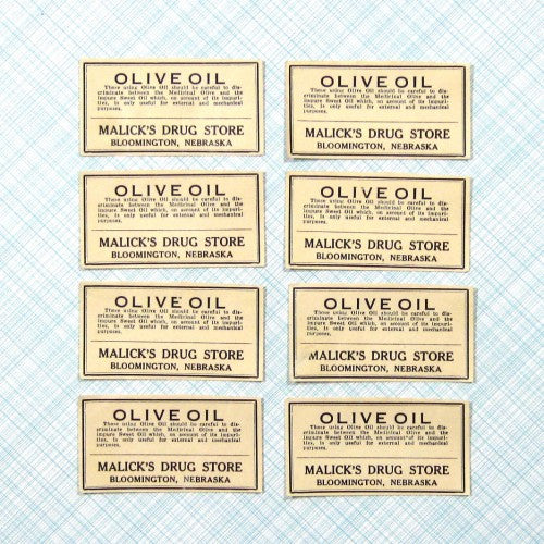 Vintage Pharmacy Medicine Labels for Olive Oil 1900