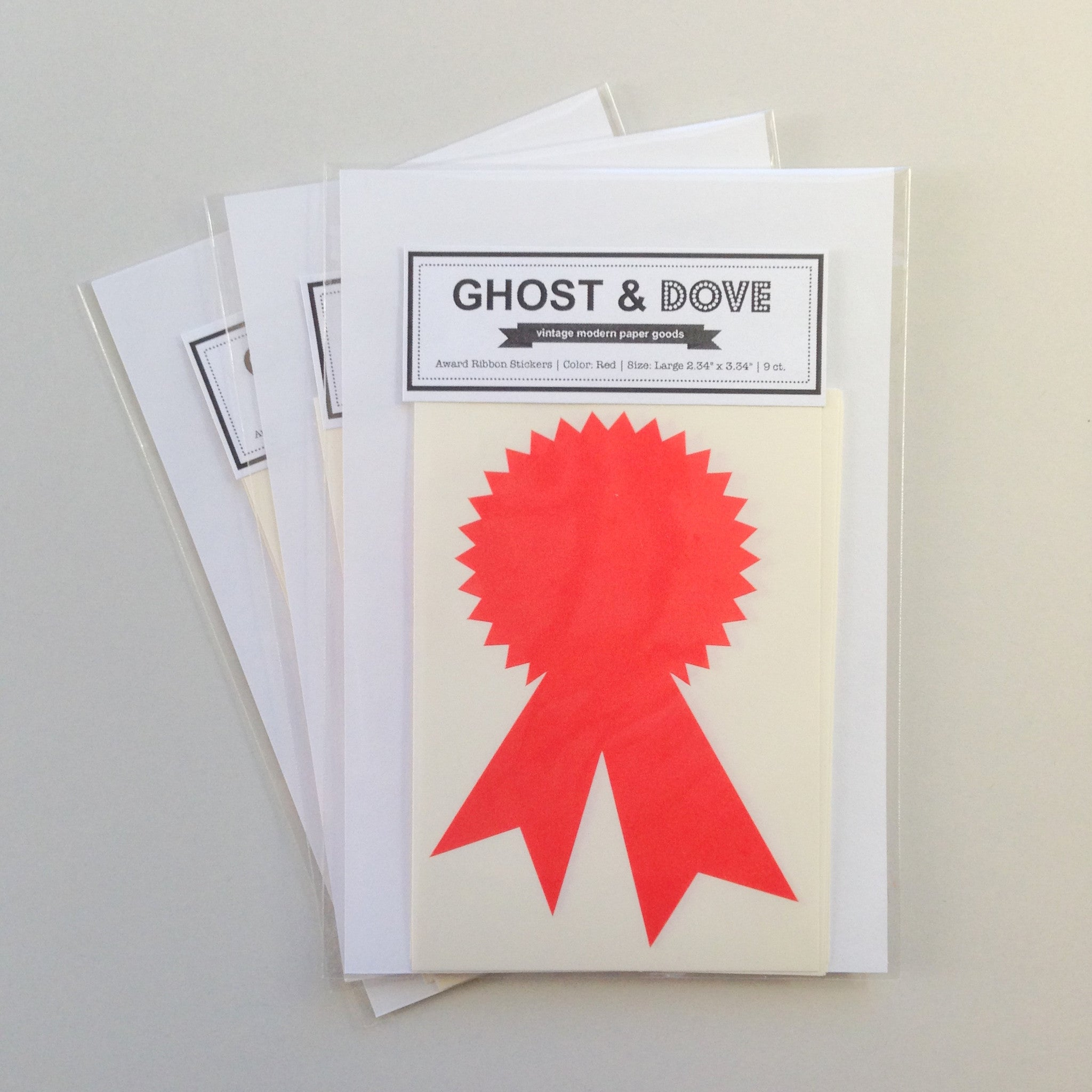 Award Ribbon Stickers Red Large