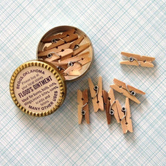 Mini Natural Wood Clothespins (Tin box not included)