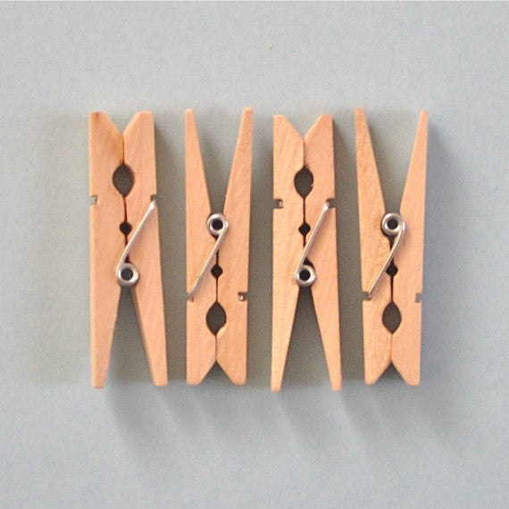 "1-3/4"" Small Clothespins Natural Wood"