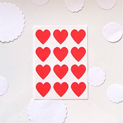 Red Heart Stickers Seals Labels