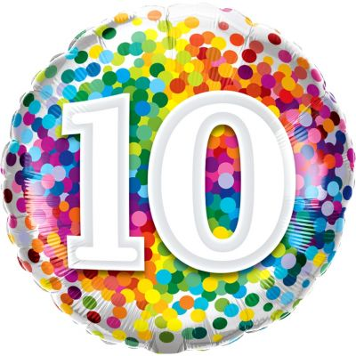 45cm Foil Balloon - 10TH BIRTHDAY DOTS