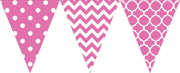 Bunting Flags (Pennant Banners) - Bright Pink