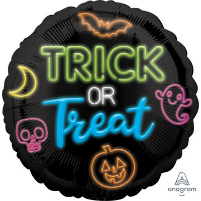 45cm Foil Balloon - TRICK OR TREAT NEON