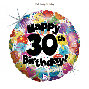 45cm Foil Balloon - HAPPY 30th BIRTHDAY