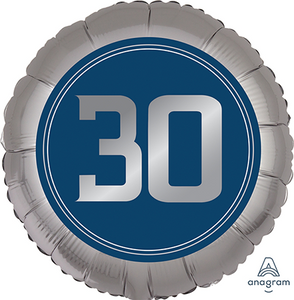 45cm Foil Balloon - 30th BIRTHDAY BLUE