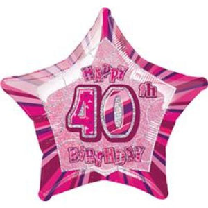 45cm Foil Balloon - HAPPY 40th BIRTHDAY PINK