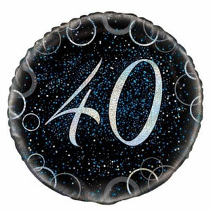 45cm Foil Balloon - 40th BIRTHDAY BLUE