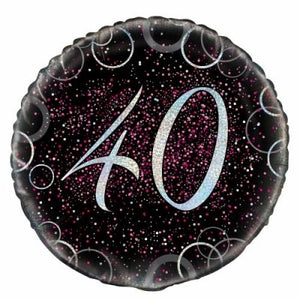 45cm Foil Balloon - 40th BIRTHDAY PINK