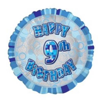 45cm Foil Balloon - 9TH BIRTHDAY