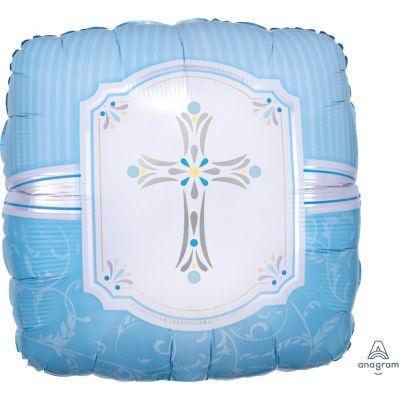 45cm Foil Balloon - BLESSINGS CROSE BLUE
