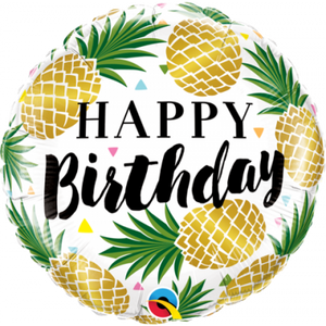 "45cm Foil Balloon -  ""Happy Birthday"" PINEAPPLE"