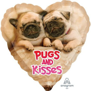 45cm Foil Balloon -  PUGS & KISSES