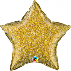 45cm Foil Balloon - STAR - GLITTER GOLD
