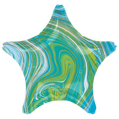45cm Foil Balloon - STAR - MARBLE GREEN