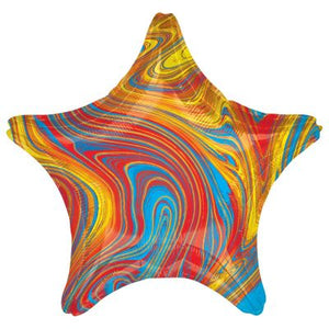 45cm Foil Balloon - STAR - MARBLE RED