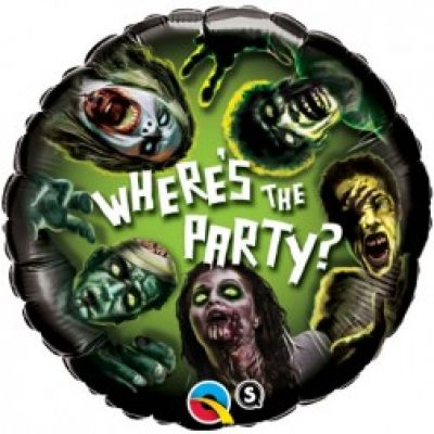 45cm Foil Balloon - WHERE'S THE PARTY? (ZOMBIE)