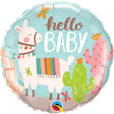 45cm Foil Balloon - WELCOME BABY (LLAMA)