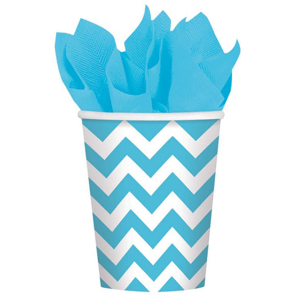 Caribbean Blue - Chevron Paper Cups ***CLEARENCE***