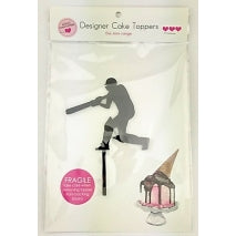 Acrylic Cake Topper - CRICKET SILHOUETTE (Black)