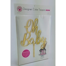 Acrylic Cake Topper - OH BABY (Gold)