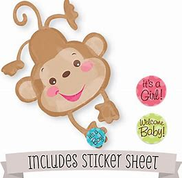 SuperShape Foil - WELCOME BABY BOY / GIRL MONKEY