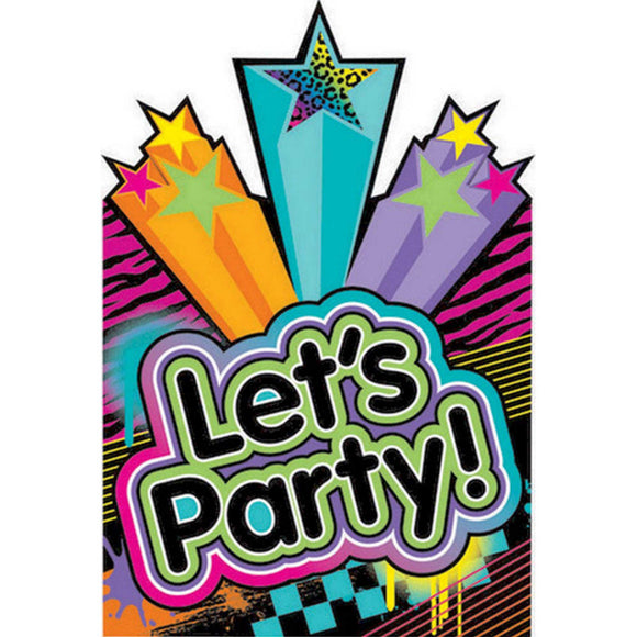 Party Invitations - LET'S PARTY NEON